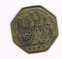 &-   BROODKAART  1  VOORUIT 1880 MET . NA WORDEN - Monétaires / De Nécessité