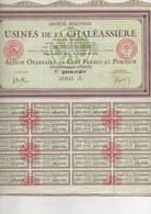 USINES DE LA CHALEASSIERE - ST ETIENNE -LOT DE 5 ACTIONS DE 100 FRS - ANNEE 1927 - Industrie