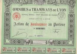 LOT DE 5 ACTIONS DE JOUISSANCE -OMNIBUS ET TRAMWAYS DE LYON - ANNEE 1936 ET 1942 - Chemin De Fer & Tramway