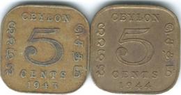 Ceylon - George VI - 1943 - 5 Cents (KM113.1) & 1944 (KM113.2) - Sri Lanka
