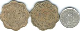 Ceylon - George VI - 1941 - 10 Cents (KM112) 1944 (KM118) & 1951 (KM121) - Sri Lanka