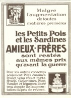 "PUB CONSERVES   "" AMIEUX FRERES  ""    1915  ( 5 ) - Boîtes"