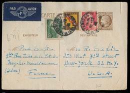 FRANCE - XX. 1946. Paris - USA. 2f 50c Stat Card + 3 Adtls. Airmail Usage. - France