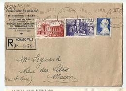 MONACO -lettre  Oblit.1947 -.Fêtes Du Jubilé -av.22/24 - Affrancature Meccaniche Rosse (EMA)