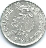 Ceylon - George VI - 1942 - 50 Cents - KM114 - Sri Lanka