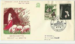 MONACO -lettre  Oblit..1er Jour 15/5/1958 . N°494-99 - Marcophilie - EMA (Empreintes Machines)