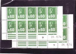 N° 1814 - 0,60 F BEQUET - 1PHO - G+H - 1° Tirage Du 25.9.74 Au 15.11.74 - 28.9.74 - (exN°2) - Ecken (Datum)