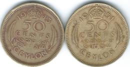 Ceylon - George VI - 1943 - 50 Cents - KM116 & 1951 - KM123 - Sri Lanka (Ceylon)