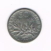I  FRANKRIJK   50 CENTIMES 1898  ZILVER - France
