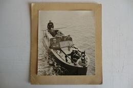 ANCIENNE GRANDE PHOTO 22,5 X 19,5CM. BATEAUX CANOT. GIRUNDIA II YCF. Marine Nationale. TBE. - Boats