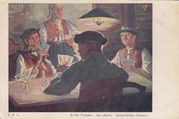 Game Of Playing Cards , Au Cabaret , Gyetva Detva Slovakia Artist Jaroslav Augusta - Cartes à Jouer