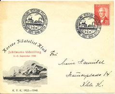 Denmark Cover Korsör Filatelist Klub Stamp Exhibition 5-9-1948 With Nice Cachet - Denmark
