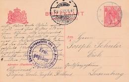 2 PScards Netherlands To Luxemburg (Vught + Ambulant Boxtel/Utrecht) With Censor Trier 1917 -18 . - Besetzungen