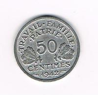 I  FRANKRIJK   50 CENTIMES  1942  VICHY - G. 50 Céntimos