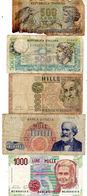 Lot De 5 Billets D'Italie -  3 De 1000 Lire Et 2 De 500 Lire -  1 De 500 Lire De 1966-75 En Mauvais état  1 De 500 Lire - [ 2] 1946-… : République