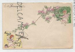 Ange Avec Plume Et Encrier Envoie Une Colombe Avec Lettre Vers Un Autre Ange. Fleurs. - Anges