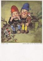 Lutin Gnom Zwerg  Harmonica Accordeon Bird By Hans Lang Old  Postcard 1943 - Musique Et Musiciens