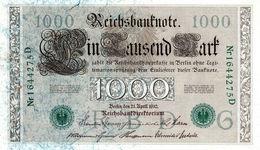 Billet Allemand De 1000 Mark Le 21-avril-1910 - 7 Chiffres - - [ 2] 1871-1918 : German Empire