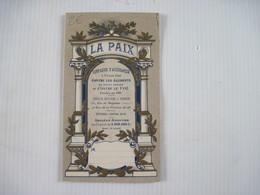 Calandrier Publicitaire 1920 Assurance LA PAIX TBE - Calendars