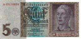 Billet De 5 Deutschemark Du 1 Août 1942 - - [ 4] 1933-1945 : Tercer Reich