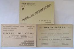 3 Cartes D'hôtels : Hôtel De Cro-Magnon Les Eyzies, Savoy-Hôtel Reims Et Hôtel Du Cerf Briare - Vers 1930 - Visiting Cards