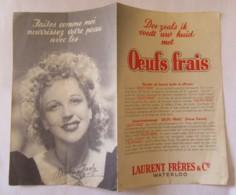 Belgique - Carte Publicitaire Oeufs Frais Laurent Frères & Co Waterloo - Célébrité Chanteuse Nicole Chanly - Advertising