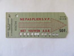 Belgique - Ticket De Transport Utilisé, 11 Voyages - Publicité Au Verso Pour Réduction à La Bourse Bruxelles Et Ixelles - Europe
