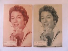Belgique - 2 Cartes Publicitaires Du Ciné Royal à JUMET-ALTREE - Actrice Rosalind Russel - 2 Teintes Différentes - Advertising