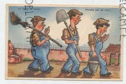 """Trois Ouvriers Fatigués. Seau, Pelle, Balai: """"Le Corps De Balais"""". Signé RAY - Humour"""