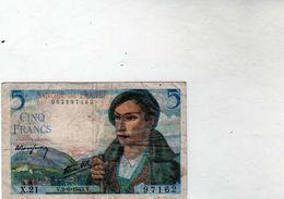 Billet De 5 Francs Berger  - Le 2-6-1943 En T T B- - 1871-1952 Circulated During XXth