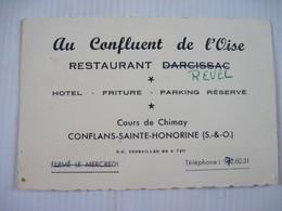 Restaurant Au Confluent De L'Oise CONFLANS SAINTE HONORINE TBE - Visiting Cards