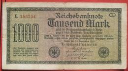 1000 Mark 1922 (WPM 76) 15.9.1922 WZ: Mäander - [ 3] 1918-1933 : Weimar Republic