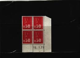 N° 1664 - 0,50 F BEQUET - Sans PHO - 5° Tirage Du 22.12.70 Au 16.1.71 - 15.1.71 - (1 Trait) - Hoekdatums
