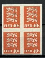 ESTLAND Estonia 1929 Michel 84 U In 4-block Official ESSAY PROOF Probedruck G: 1 MNH - Estland
