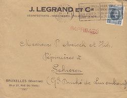 J. LEGRAND ET Cie. Désinfectants-Insectides Flamme 'International Fair' BRUXELLES 1927 Cover Lettre SCHIEREN Luxembourg - Belgien