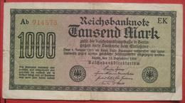 1000 Mark 1922 (WPM 76) 15.9.1922 WZ: Achterstreifen - [ 3] 1918-1933 : Repubblica  Di Weimar
