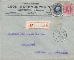 Belgium PEPINIÉRES LEON KERKWOORDE & Cie. Registered Recommandé Label WETTERN 1926 Cover Lettre SCHIEREN Luxembourg - Belgien