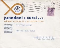 BUSTA VIAGGIATA - MILANO - PRANDONI E CURCIS.R.L. VIAGGIATA PER MILANO - 6. 1946-.. Repubblica