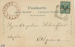 Cachet Maritime Vapore Conceta  Vers Alger  Carte Napoli . Coin Inf. Gauche Plié; - Altri