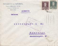 Argentina BICOCCA & WEIBEL, TMS Cds. ROSARIO 1925 HAMBURG Germany 2x San Martin Stamps - Argentinien