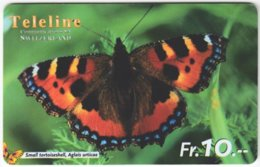 SWITZERLAND C-487 Prepaid Teleline - Animal, Butterfly - Used - Suisse