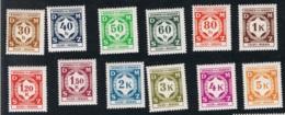 1941 1. Jan. Dienstmarken Mi D1 - 12 Sn O1 - 12 Yt S1 - 12 Sg O60 - 71 AFA T-1 - 12 POF DE-BM SL1 - 12 Xx - Böhmen Und Mähren