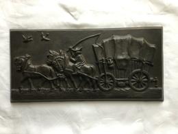 Schwere Guss-Platte Relief Pferdegespann - Ironwork