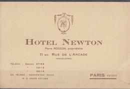 Hotel Newton Carte De Visite Paris. - Cartes De Visite