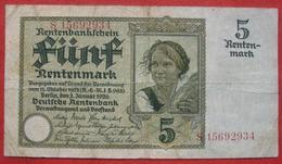 5 Rentenmark 1926 (WPM 169b) 2.1.1926 - [ 3] 1918-1933 : Repubblica  Di Weimar