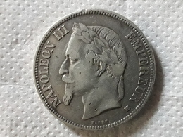 5 Francs NAPOLÉON III Tête Laurée 1868 BB Argent Silver - France