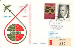 Liechtenstein Swissair First Flight Cover Zürich - Geneve - Ceylon Singapore 31-3-1969 - Liechtenstein