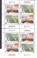 """ROMANIA EUROPA CEPT - 2018 -BRIDGES Set 2 Val - In Block Of 4 With Edges And Logo """" EUROPA And BRIDGES """" MNH** - Blocks & Sheetlets"""