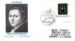 """BRD Schmuck-FDC """"225. Geburtstag Von Heinrich Von Kleist"""", Mi.2283 ESSt 10.10.2002 BERLIN ZENTRUM - [7] République Fédérale"""