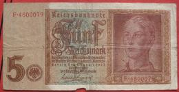 5 Reichsmark 1942 (WPM 186) 1.8.1942 - [ 4] 1933-1945 : Troisième Reich